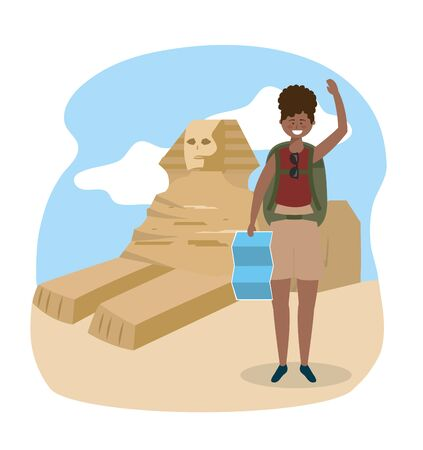 woman with backpack and global map to travel to egypt sculture vector illustration 向量圖像