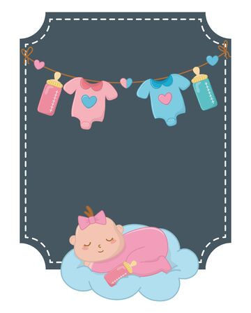 square frame with baby sleeping over cloud and baby clothes hanging on clothesline rope with feeding bottle vector illustration graphic design