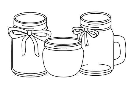 masons jars decoration with ribbon cartoon vector illustration graphic design