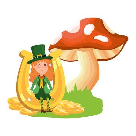 st patricks day elf with mushroom and horseshoe cartoon vector illustration graphic design Ilustrace