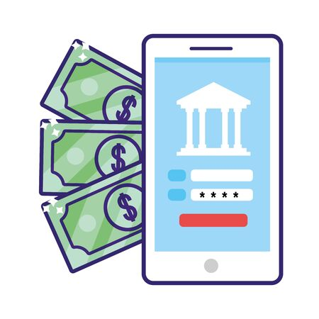 saving money business accounting technology smartphone digital payment with investment elements cartoon vector illustration graphic design Çizim