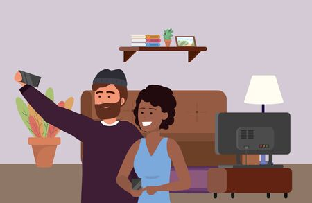 Millennial couple date using smartphone taking selfie smiling posing beanie afro bearded indoors room furniture background vector illustration graphic design