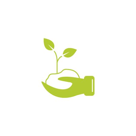 hand with plant eco friendly fill style icon