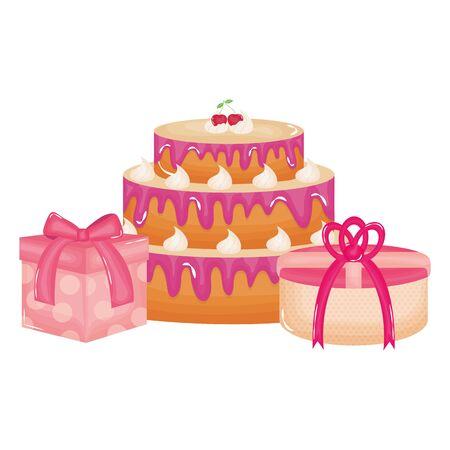 cajas de regalos regalos con tarta dulce