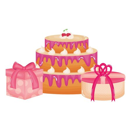 gifts boxes presents with sweet cake