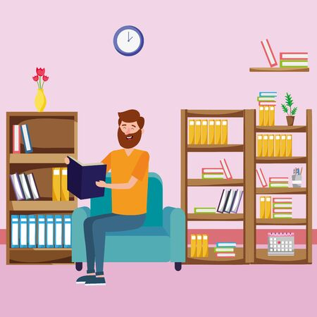 young man relax reading book over couch cartoon vector illustration graphic design Illustration