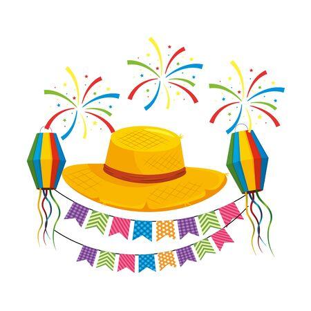 festa junina brazil traditional celebration party elements cartoon vector illustration graphic design
