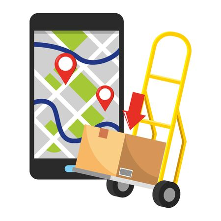 pushcart with box and cellphone with location pointer and download arrow vector illustration graphic design 일러스트