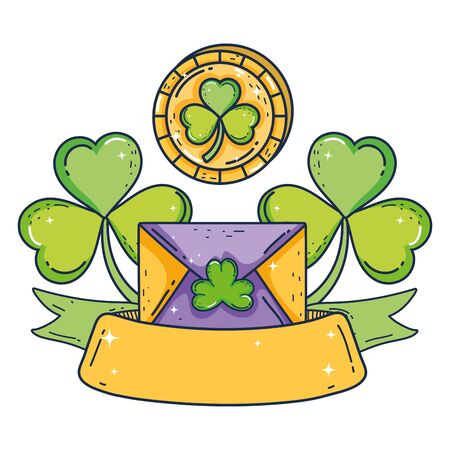envelope with clover with coin st patrick invitation vector illustration design