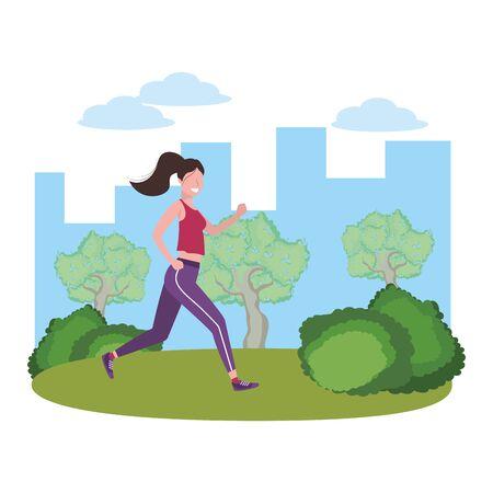 fitness sport train woman running outdoor scene cartoon vector illustration graphic design Illustration