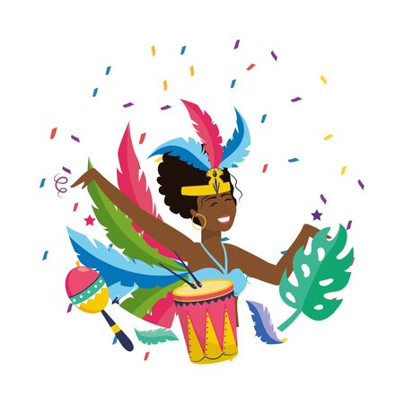 woman with feather headdress celebrating with maracas and drum brazil carnival vector illustration graphic design