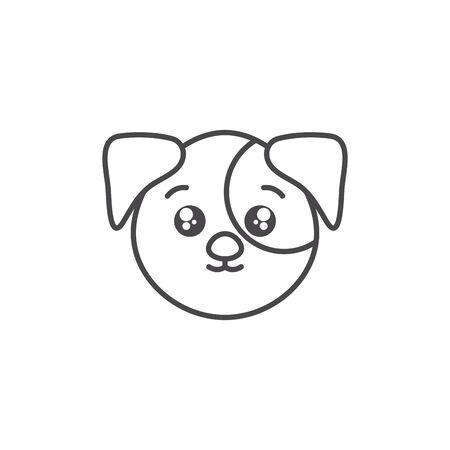 cute dog domestic animal head line style icon