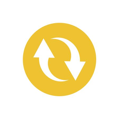 icon of double reverse arrows in color circle