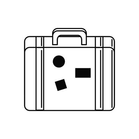 vintage suitcase vacation travel icon  イラスト・ベクター素材