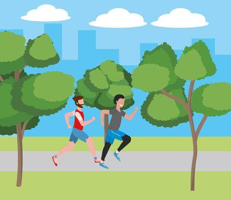 fitness sport train men running at outdoor scene cartoon vector illustration graphic design Illustration