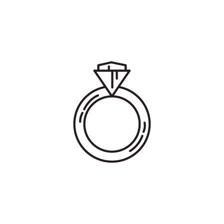 ring with diamond line icon  イラスト・ベクター素材