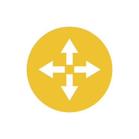 icon of arrow in color circle direction way Ilustração
