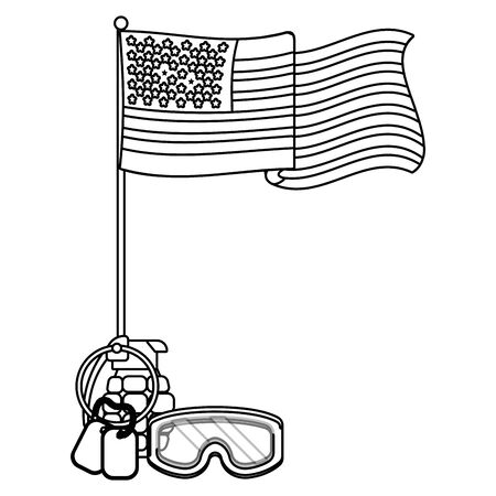 united state flag with grenade goggles and dog tag plates black and white vector illustration graphic design