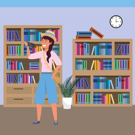 Millennial student long hair woman wearing hat and shorts using smartphone on library background colorful bookstand vector illustration graphic design