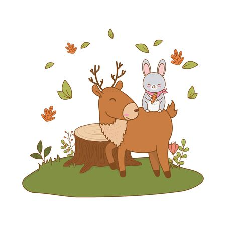 cute rabbit and reindeer in the field woodland characters Çizim
