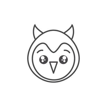 cute owl bird animal line style icon