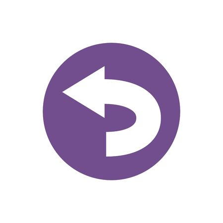 icon of left turn direction in color circle