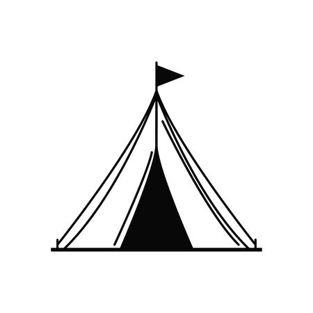 camping tent vacation travel icon Çizim