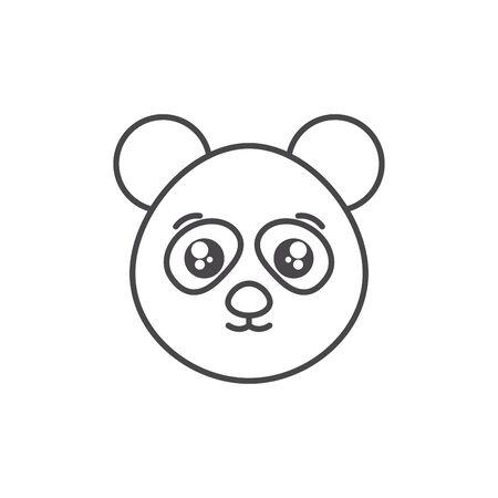 cute bear panda wild animal line style icon