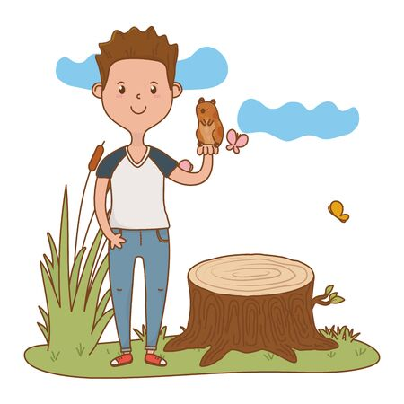 childhood happy child boy with little cute pet at outdoor scene cartoon vector illustration graphic design Stock Illustratie