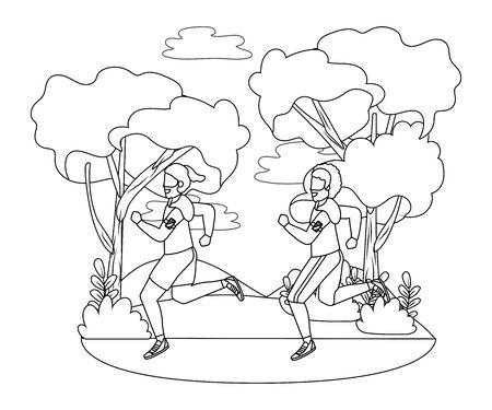 fitness sport train men running at outdoor scene cartoon vector illustration graphic design  イラスト・ベクター素材