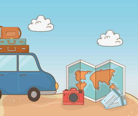 car with suitcases travel vacations scene vector illustration design