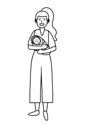 woman carrying baby avatar cartoon character black and white vector illustration graphic design