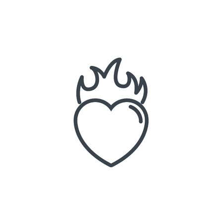 heart flame passion icon line design Illustration