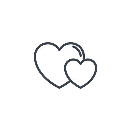 two love hearts icon line design Illustration