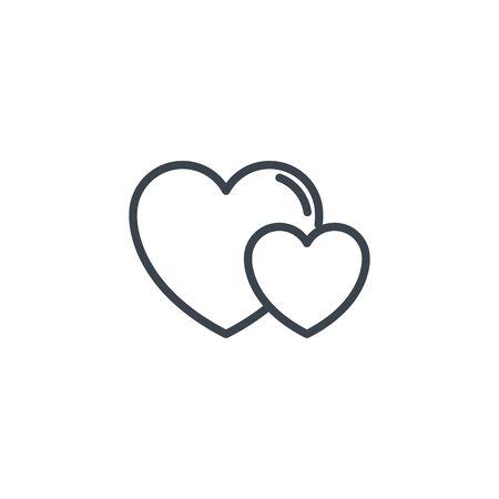 two love hearts icon line design Çizim