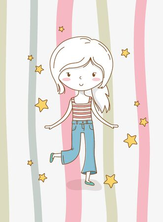 beautiful little girl with pastel colors and stars vector illustration design Çizim