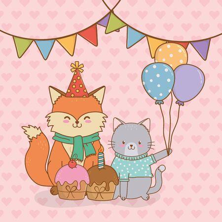 birthday card with cute animals woodland vector illustration design  イラスト・ベクター素材