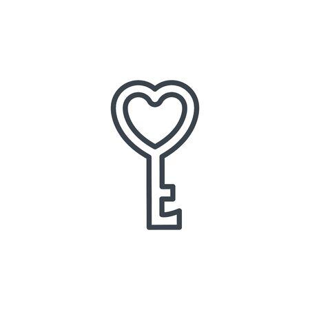 key love heart icon line design