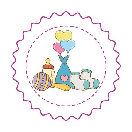 Baby shower socks, bag, maraca, bottle and three hearts balloons cartoons in round label stamp vector illustration graphic design