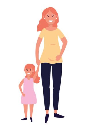 pregnant woman with child avatar cartoon character vector illustration graphic design  イラスト・ベクター素材