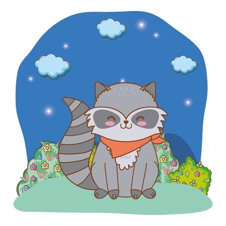 cute little animal raccoon at night cartoon vector illustration graphic design  イラスト・ベクター素材