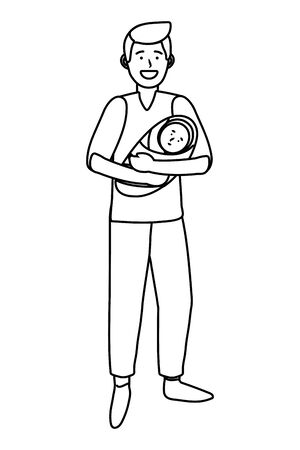 man carrying baby avatar cartoon character black and white vector illustration graphic design  イラスト・ベクター素材