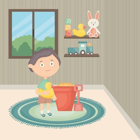little boy playing with toys in the room vector illustration design