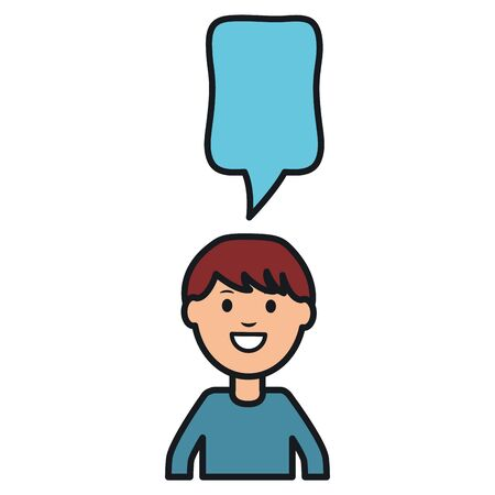 young man with speech bubble avatar character vector illustration design