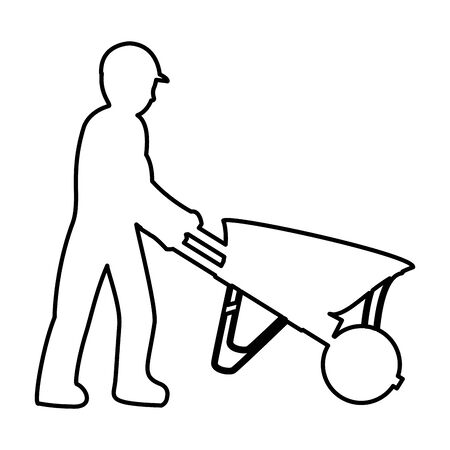 line pictogram laborer with wheelbarrow equipment maintenance vector illustration