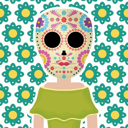 traditional katrina mexican character with floral pattern vector illustration design