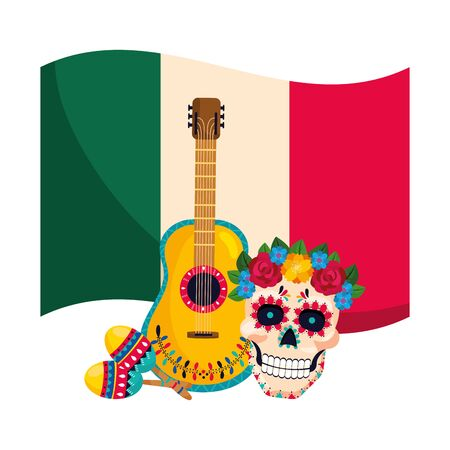 mexican culture festival day of dead skull cartoon vector illustration graphic design