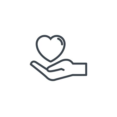 hand with love heart icon line design