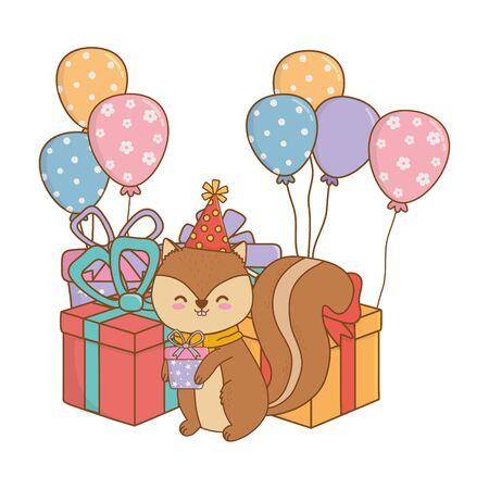 cute adorable animal squirrel birthday party scene festive cartoon vector illustration graphic design