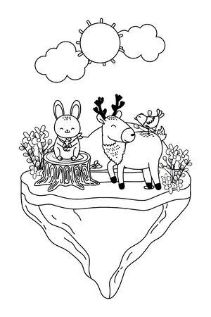 cute littles animals at nature environment cartoon vector illustration graphic design Ilustração